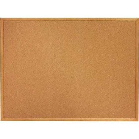 "SKILCRAFT® Bulletin Board, Natural Cork, 18"" x 24"", Brown, Tan Oak Frame (AbilityOne 7195-01-567-9519)"