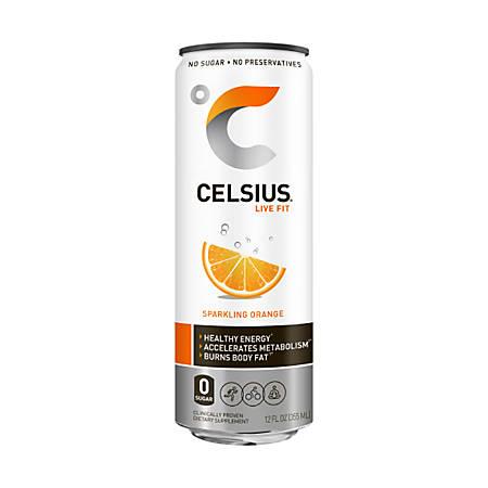 Celsius® Sparkling Fitness Drinks, Orange, 12 Oz, Pack Of 12