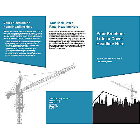 Customizable Trifold Brochure, Blue Construction