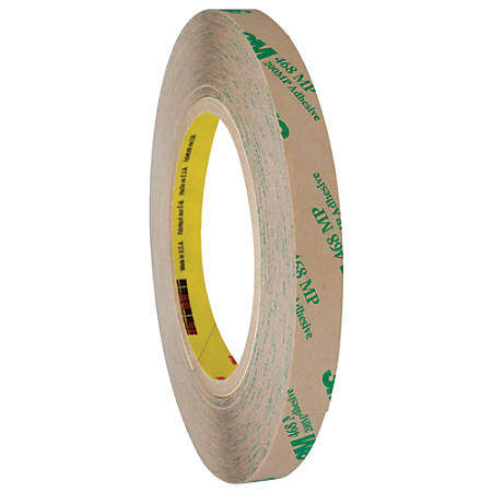 "3M™ 468MP Adhesive Transfer Tape, 3"" Core, 0.5"" x 60 Yd., Clear, Case Of 72"