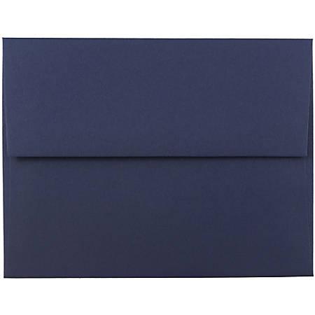 "JAM Paper® Booklet Invitation Envelopes, A2, 4 3/8"" x 5 3/4"", Navy Blue, Pack Of 25"