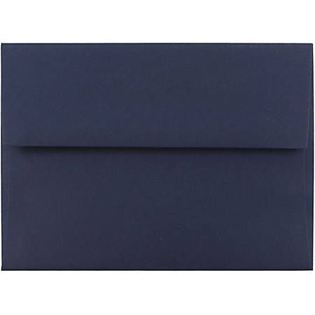 "JAM Paper® Booklet Invitation Envelopes, A6, 4 3/4"" x 6 1/2"", Navy Blue, Pack Of 25"