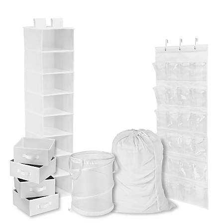 Honey-Can-Do 8-Piece Room And Laundry Organizer, White