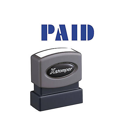 "Xstamper Blue PAID Title Stamp - Message Stamp - ""PAID"" - 0.50"" Impression Width x 1.62"" Impression Length - 100000 Impression(s) - Blue - Recycled - 1 Each"