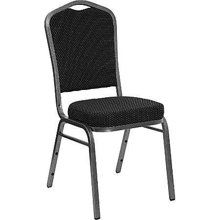 Flash Furniture HERCULES Fabric Crown-Back Stacking Banquet Chair, Black Dot/Silver