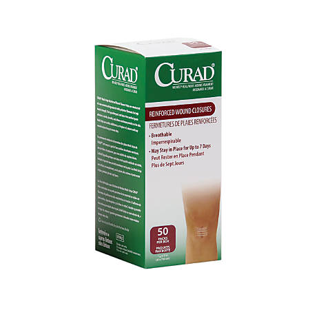 """CURAD® Sterile Medi-Strips Reinforced Wound Closures, 1/4"""" x 3"""", White, 3 Per Pack, Box Of 50 Packs"""