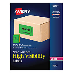 Avery Permanent Neon ID Labels 5917