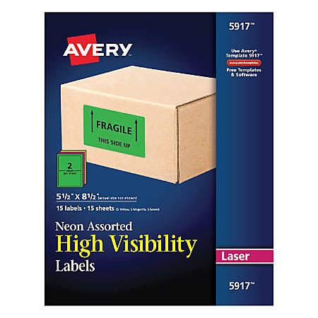 """Avery® Permanent Neon ID Labels, 5917, 5 1/2"""" x 8 1/2"""", Assorted Colors, Pack Of 30"""