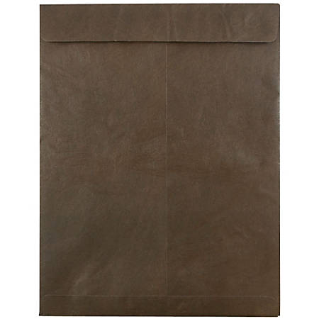 "JAM Paper® Tyvek® Open-End Catalog Envelopes, 10"" x 13"", Chocolate Brown, Pack Of 25"