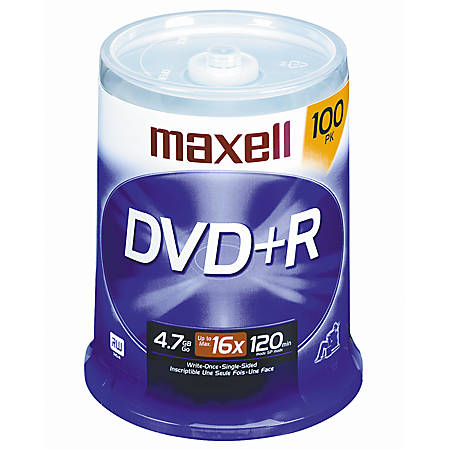 Maxell® DVD+R Recordable Media Spindle, 4.7GB/120 Minutes, Pack Of 100
