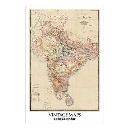 """Retrospect Vintage Maps Monthly Wall Calendar, 19"""" X 12-1/2"""", January To December 2020, YC 065-20"""