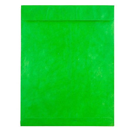 """JAM Paper® Tyvek® Open-End Catalog Envelopes, 10"""" x 13"""", Lime Green, Pack Of 25"""