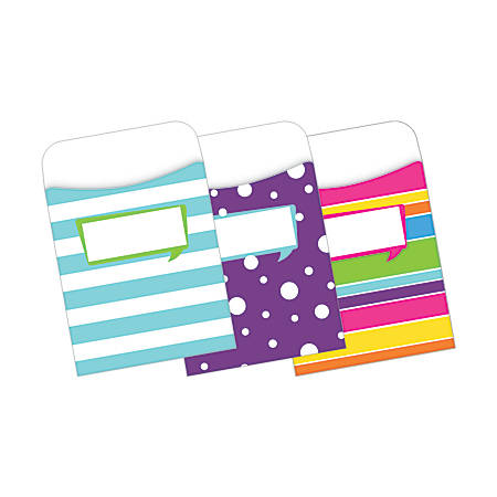"""Barker Creek Peel & Stick Library Pockets, 3 1/2"""" x 5 1/8"""", Happy, Pack Of 30"""