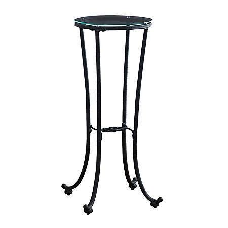 Monarch Specialties Round Plant Accent Table, Clear/Black