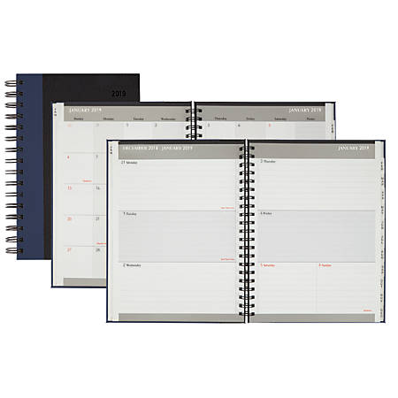 """Office Depot® Brand Stripe Weekly/Monthly Planner, Wide, 5"""" x 8"""", Blue/Black, January to December 2019"""