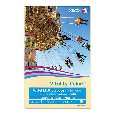 """Xerox® Vitality Colors™ Multi-Use Printer Paper, Ledger Size (11"""" x 17""""), 20 Lb, 30% Recycled, Ivory, Ream Of 500 Sheets"""
