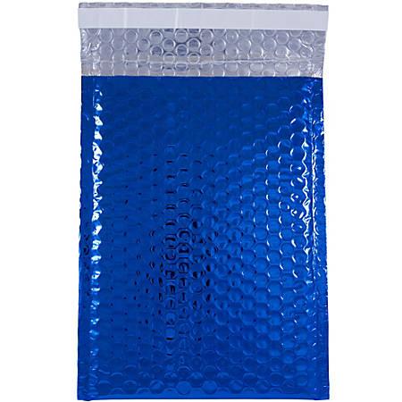 """JAM Paper® Open-End Metallic Bubble Envelopes, 6 3/8"""" x 9 1/2"""" x 1/2"""", Blue, Pack Of 12"""