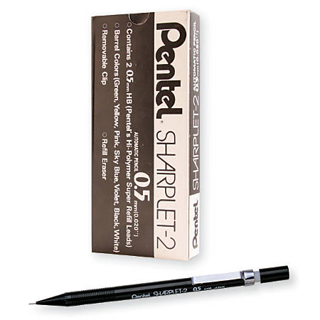 Pentel® Sharplet-2™ Automatic Pencil, 0.5 mm, Black, Pack Of 12