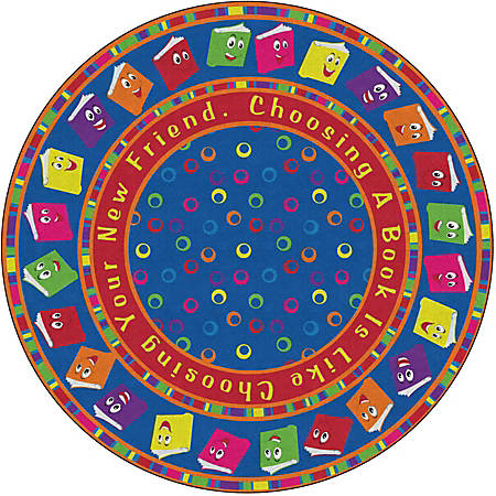 Flagship Carpets Circle Time Books Rug, Round, 12', Bright