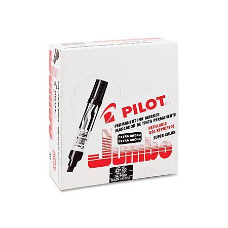 Pilot Jumbo Chisel Felt-Tip Permanent Marker, Black Ink, Black/White Barrel