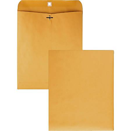"Quality Park Gummed Kraft Clasp Envelopes - Clasp - #95 - 10"" Width x 12"" Length - 28 lb - Gummed - Kraft - 100 / Box - Kraft"