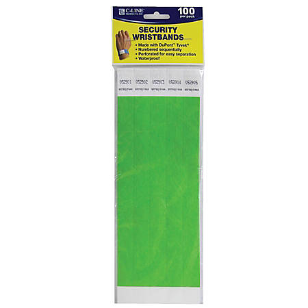 "C-Line® DuPont™ Tyvek® Security Wristbands, 3/4"" x 10"", Green, 100 Wristbands Per Pack, Set Of 2 Packs"