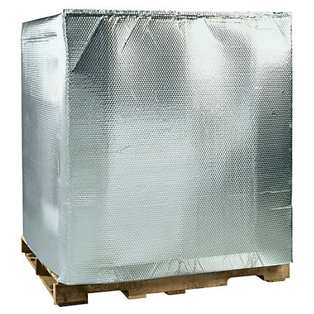 """Office Depot® Brand Cool Shield Bubble Pallet Covers, 48""""H x 40""""W x 48""""D, Silver, Case Of 5"""