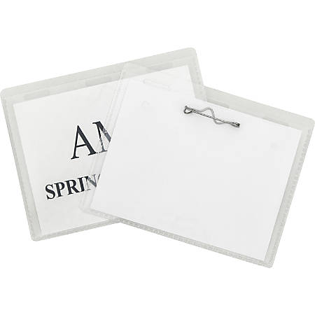 C-Line Pin Style Name Badge Holder Kit - Folded Holders with Inserts, 3-1/2 x 2-1/4, 100/BX, 94223