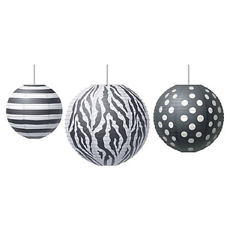 Teachers Created Resources Paper Lanterns, Big, Bold Black And White, Grades Pre-K - 8, Pack Of 3