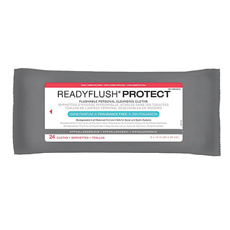 """ReadyFlush Biodegradable Flushable Wipes, Unscented, 8"""" x 12"""", White, 24 Wipes Per Pack, Case Of 24 Packs"""