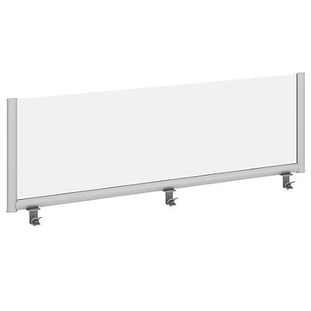 """Bush Business Furniture Frosted Desk Top Side Privacy Screen, 17 3/4""""H x 28 13/16""""W x 1 3/16""""D, White/Silver, Standard Delivery"""