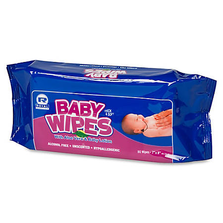 Royal Paper Products Baby Wipes Refill Pack - White - Unscented, Extra Soft, Pre-moistened, Alcohol-free, Hypoallergenic - For School, Home, Skin, Church, Day Care - 80 Quantity Per Pack - 960 / Carton