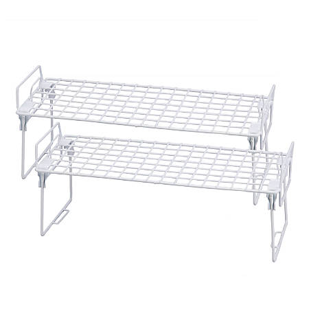 """Honey-Can-Do Lock And Link Kitchen Organizer Racks, 9 1/8""""H x 22""""W x 10""""D, White, Set Of 2"""