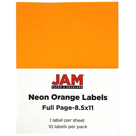 """JAM Paper® Full-Page Mailing And Shipping Labels, 337628613, 8 1/2"""" x 11"""", Neon Orange, Pack Of 10"""