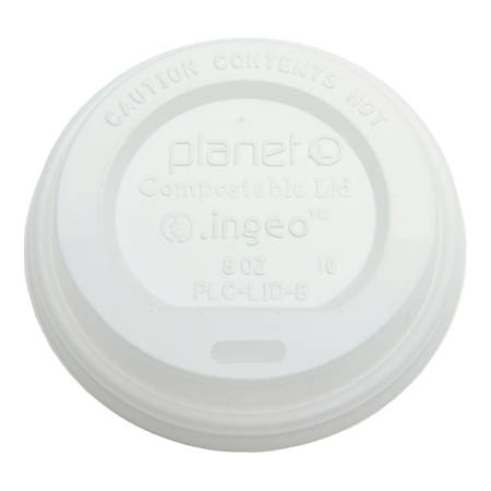 StalkMarket Planet Compostable Hot Cup Lids, 8 Oz, White, Pack Of 1000 Lids