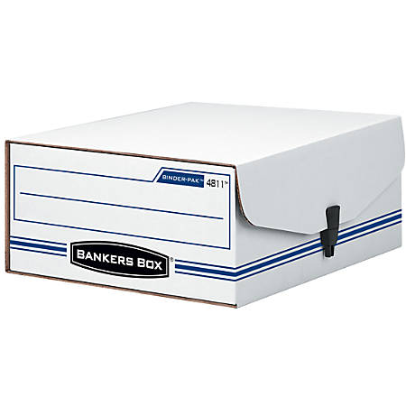 "Bankers Box® Liberty® 35% Recycled Binder Pak Storage Box, 4 3/4"" x 9 3/4"" x 11 7/8"", White/Blue"