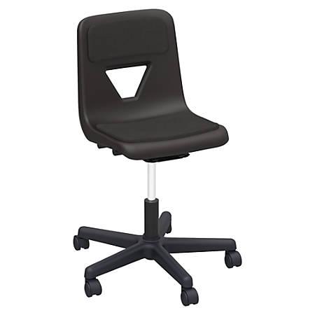 Lorell® Classroom Adjustable-Height Padded Mobile Task Chair, Black