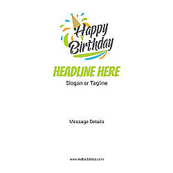 Adhesive Sign Birthday Cap Vertical