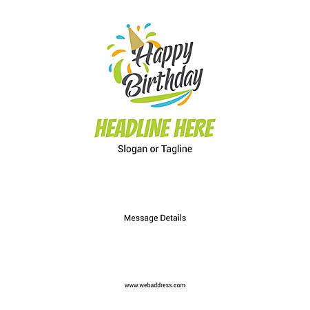 Adhesive Sign, Birthday Cap, Vertical