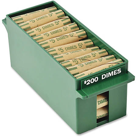 "MMF Porta-Count Extra-cap. Dime Trays - External Dimensions: 8.8"" Length x 3.2"" Width x 3.4"" Height - 2000 x Dime - Stackable - ABS Plastic - Green - For Cash, Coin - Recycled - 1 Each"