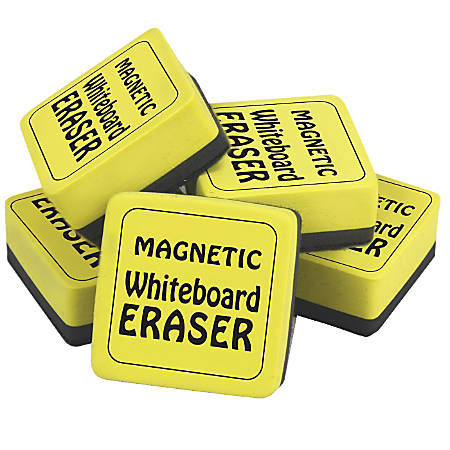 "The Pencil Grip™ Magnetic Whiteboard Erasers, 2"" x 2"", Yellow, 2 Packs Of 12"