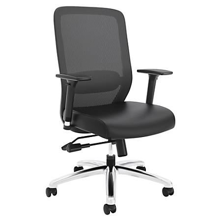"HON Exposure Mesh High-Back Task Chair - Leather Seat - 5-star Base - 21.50"" Seat Width x 19"" Seat Depth - 26.5"" Width x 26.8"" Depth x 42.5"" Height"