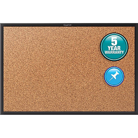 "Quartet® Classic Cork Bulletin Board - 24"" Height x 36"" Width - Brown Natural Cork Surface - Black Aluminum Frame - 1 / Each"