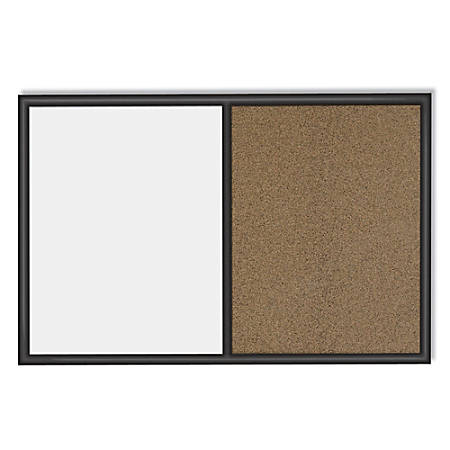 "Quartet® Combination Dry-Erase/Cork Bulletin Board, 36"" x 48"", Black Frame/Natural Cork"