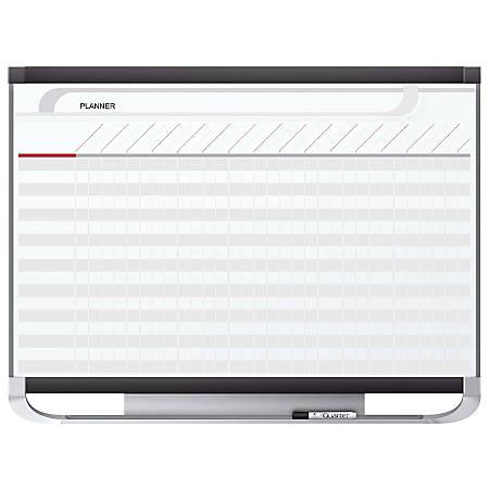 "Quartet® Prestige® 2 Total Erase® Magnetic Project Planner, 25 Row/40 Column Chart, 48"" x 36"", White/Graphite"