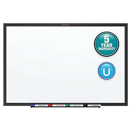 "Quartet® Classic Magnetic Whiteboard - 24"" (2 ft) Width x 18"" (1.5 ft) Height - White Painted Steel Surface - Black Aluminum Frame - Horizontal/Vertical - 1 Each"