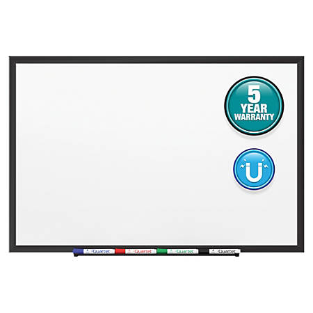 """Quartet® Classic Magnetic Whiteboard - 36"""" (3 ft) Width x 24"""" (2 ft) Height - White Painted Steel Surface - Black Aluminum Frame - Horizontal/Vertical - 1 / Each"""