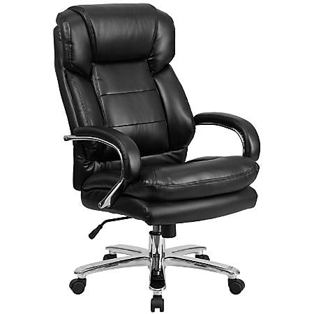 Flash Furniture HERCULES Series 24-7 Intensive Use Big & Tall Office Chair With Loop Arms, Black Leather/Gray