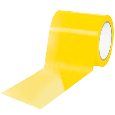 "BOX Packaging Solid Vinyl Safety Tape, 3"" Core, 4"" x 36 Yd., Yellow, Case Of 3"