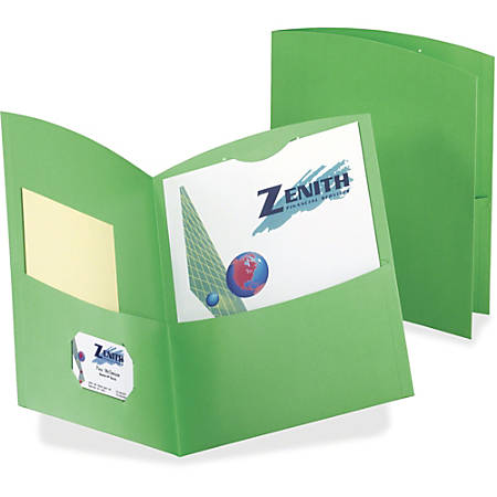"TOPS Oxford Contour Twin Pocket Folders - Letter - 8 1/2"" x 11"" Sheet Size - 100 Sheet Capacity - 2 Pocket(s) - 11 pt. Folder Thickness - Embossed Paper, Stock - Green - Recycled - 25 / Box"